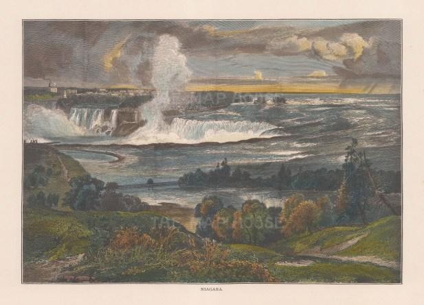 """Picturesque America: Niagara Falls, New York. 1872. A hand coloured original antique wood engraving. 9"""" x 6"""". [USAp3861]"""