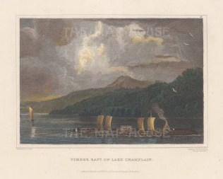 "Hinton: Lake Champlain, New York. 1831. A hand coloured original antique steel engraving. 7"" x 6"". [USAp4056]"