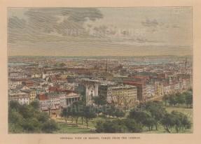 "Reclus: Boston, Massachusetts. 1894. A hand coloured original antique wood engraving. 8"" x 6"". [USAp4205]"