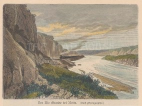 """Geiltbeck: Rio Grande del Norte, New Mexico. 1897. A hand coloured original antique wood engraving. 5"""" x 4"""". [USAp4252]"""