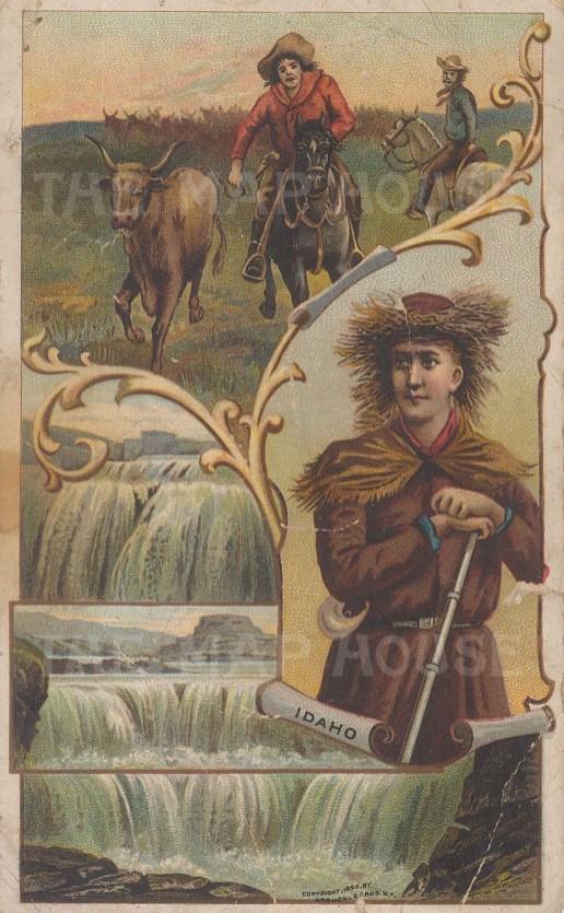 "Arbuckle Brothers: Idaho. 1892. An original antique chromolithograph. 4"" x 6"". [USAp4285]"
