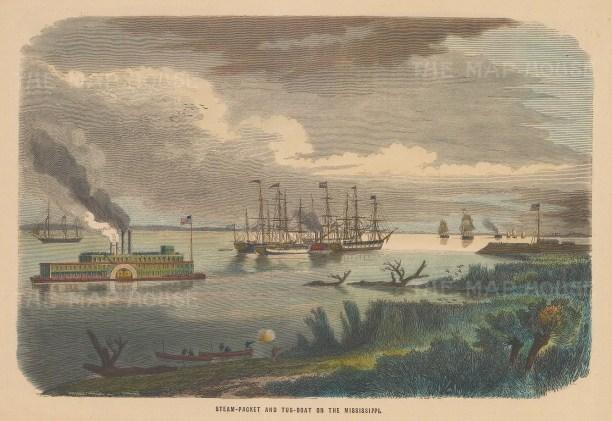 "Collins: Mississippi River. c1870. A hand coloured original antique wood engraving. 10"" x 7"". [USAp4428]"
