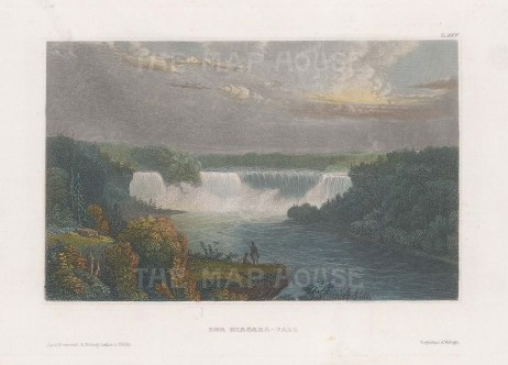 "Meyer: Niagara Falls, New York. 1836. A hand coloured original antique steel engraving. 6"" x 4"". [USAp4753]"