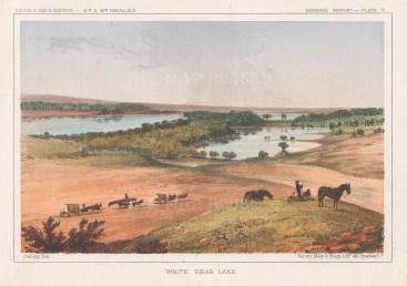 "U.S.P.R.R. Exp.: White Bear Lake, Minnesota. 1857. An original colour antique lithograph. 9"" x 8"".[USAp4787]"