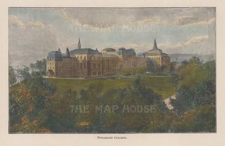 "Lovett: Wellesley College, Massachusetts. 1891. A hand coloured original antique wood engraving. 12"" x 8"". [USAp4823]"