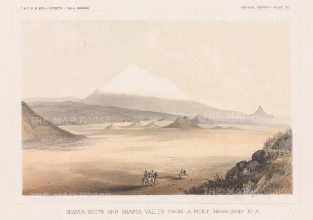"U.S.P.R.R. Exp.: Mount Shasta & Shasta Valley.1857. An original colour antique lithograph. 10"" x 7"".[USAp4916]"