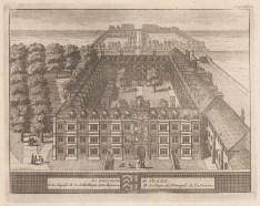 "van der Aa: Clare Hall. 1727. An original antique copper engraving. 6"" x 5"".[CAMBSp350]"
