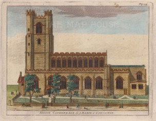 """van der Aa: St Mary's the Great Cathedral. 1727. A hand coloured original antique copper engraving. 6"""" x 5"""". [CAMBSp364]"""