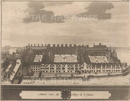 "van der Aa: St. John's College. 1727. An original antique copper engraving. 6"" x 5"". [CAMBSp404]"