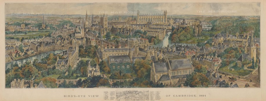 Panoramic of Cambridge From Christ's Church to Merton Hall. With key.