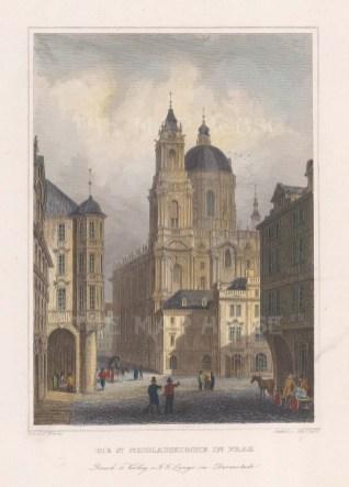 """Lange: Prague, Czech Republic. c1840. A hand coloured original antique steel engraving. 4"""" x 6"""". [CEUp427]"""