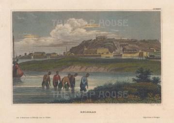 "Meyer: Belgrade, Serbia. 1840. A hand coloured original antique steel engraving. 6"" x 4"". [CEUp479]"