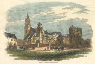 """Illustrated London News: Cracow, Poland. 1846. A hand coloured original antique wood engraving. 7"""" x 5"""". [CEUp497]"""