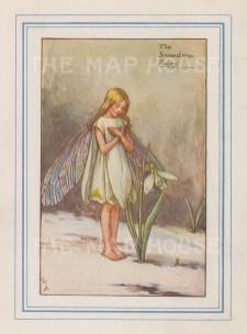 "Barker: Snowdrop Fairy. 1927. An original vintage chromolithograph. 3"" x 4"". [DECp2173]"