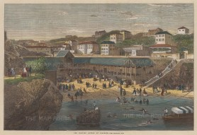 """Illustrated London News: Biarritz. c1880. A hand coloured original antique wood engraving. 14"""" x 10"""". [FRp1264]"""
