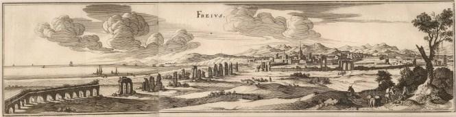 "Merian: Frejus. c1640. An original antique wood engraving. 19"" x 5"". [FRp1393]"