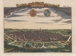 "van der Aa: Boulogne. c1720. A hand coloured original antique copper engraving. 6"" x 5"". [FRp1438]"