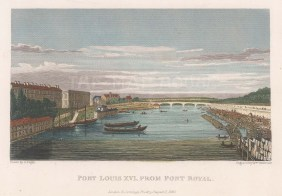 "Pugin: Pont Louis XVI. 1828. A hand coloured original antique steel engraving. 6"" x 4"". [FRp1478]"