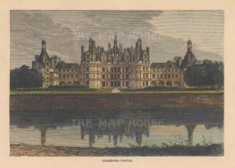"""Reclus: Chambord Castle. 1894. A hand coloured original antique wood engraving. 8"""" x 5"""". [FRp1528]"""