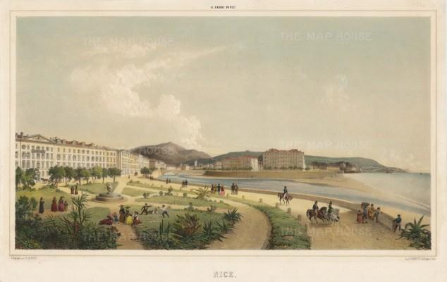 Nice: Rare. Panorama of the Jardin des Plantes (Jardin de Albert 1er) looking towards the old town. After G. Ferri.