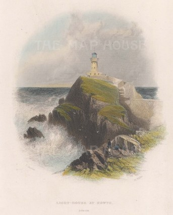 """Creswick: Howth Lighthouse. 1841. A hand coloured original antique steel engraving. 4"""" x 6"""". [IREp676]"""
