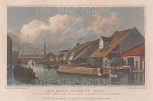 "Shepherd: Regent's Canal. 1828. A hand coloured original antique steel engraving. 7"" x 5"". [LDNp10000]"
