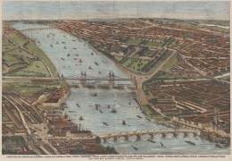 Looking west over the Thames showing Chelsea, South Kensington, Knightsbridge, Pimlico, Battersea and Vauxhall. With key below.