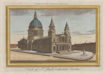 """Hogg: St Paul's Cathedral. c1784. A hand coloured original antique copper engraving. 9"""" x 6"""". [LDNp10014]"""