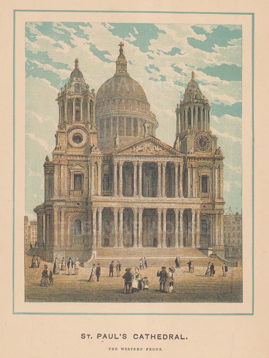 """Winkles: St Paul's Cathedral. c1890. An original antique chromolithograph. 5"""" x 7"""". [LDNp10017]"""