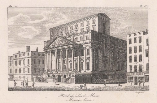 "Baugean: Mansion House. 1814. An original antique copper engraving. 6"" x 4"". [LDNp10054]"