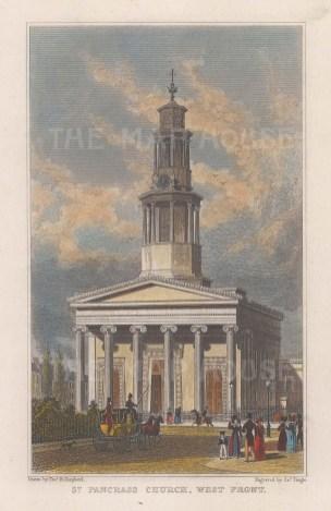 "Shepherd: St Pancras Church. c1828. A hand coloured original antique steel engraving. 5"" x 7"". [LDNp10080]"