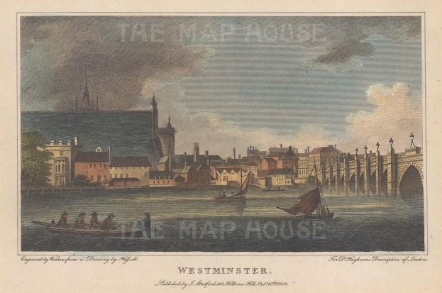"Stratford: Westminster. 1808. A hand coloured original antique steel engraving. 7"" x 5"". [LDNp10081]"