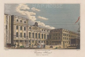 "Hughs: Custom House. 1806. A hand coloured original antique steel engraving. 7"" x 5"". [LDNp10083]"