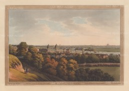 Panorama from Greenwich. View over the Royal Naval Hospital and the Thames looking towards the City and St Paul's Cathedral.