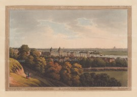 Panorama from Greenwich: View over the Royal Naval Hospital and the Thames looking towards the City and St Paul's Cathedral.