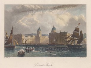 Greenwich Hospital. View from the Thames of the Royal Hospital for Seamen built in 1692.