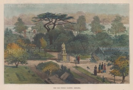 Chelsea Physic Garden with a statue of Sir Hans Sloane in the centre.