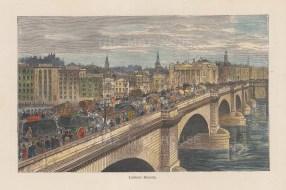 "Reclus: London Bridge. c1894. A hand coloured original antique wood engraving. 7"" x 5"". [LDNp10172]"