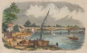 "Illustrated London News: Barnes Bridge. 1849. A hand coloured original antique wood engraving. 6"" x 5"". [LDNp10211]"