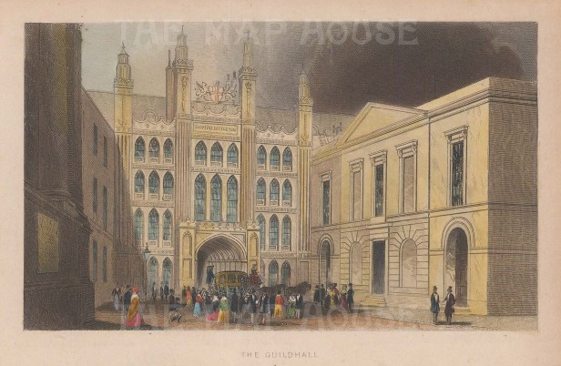 "Tallis: Guildhall. 1851. A hand coloured original antique steel engraving. 6"" x 4"". [LDNp10225]"