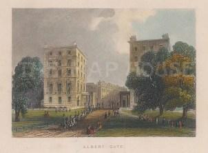 """Tallis: Albert Gate. 1851. A hand coloured original antique steel engraving. 4"""" x 3"""". [LDNp10230]"""