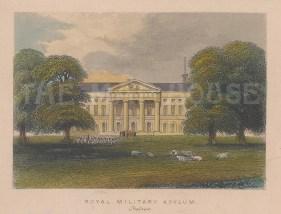 "Tallis: Chelsea Royal Hospital. 1851. A hand coloured original antique steel engraving. 4"" x 3"". [LDNp10234]"