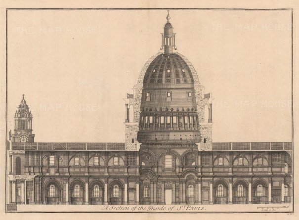 """Bowles: St Paul's Cathedral. 1732. An original antique copper engraving. 27"""" x 18"""". [LDNp10316]"""