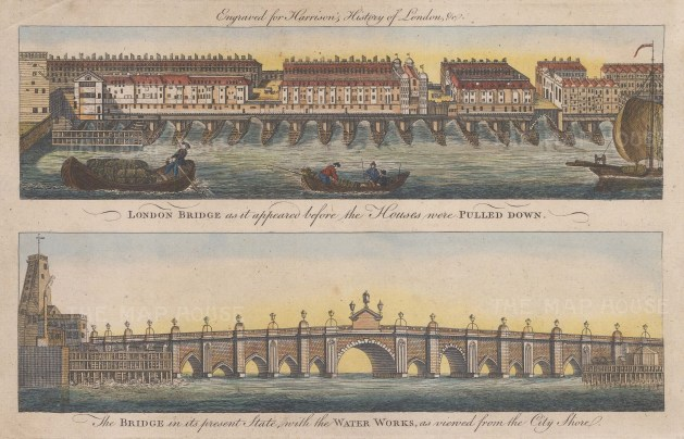 London Bridge. Double view of the bridge before and after the demolition of the houses and shops in the 1760's.