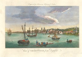 """Harrison: Greenwich from Deptford. 1775. A hand coloured original antique copper engraving. 14"""" x 7"""". [LDNp10359]"""