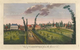 "Harrison: Camberwell. 1775. A hand coloured original antique copper engraving. 14"" x 7"". [LDNp10361]"