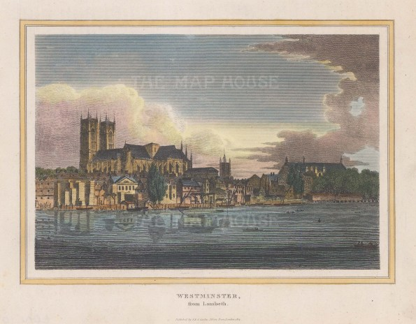 Westminster. View of the Abbey, St Margaret's and Thames shore from Lambeth.