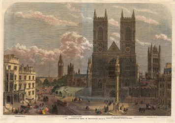 """Illustrated London News: Westminster Abbey. 1862. A hand coloured original antique wood engraving. 21"""" x 14"""". [LDNp10395]"""