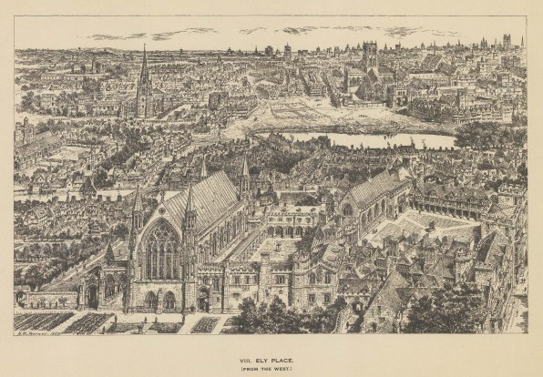 Ely Place. Bird's eye view from the West. After the architectural artist Henry William Brewer