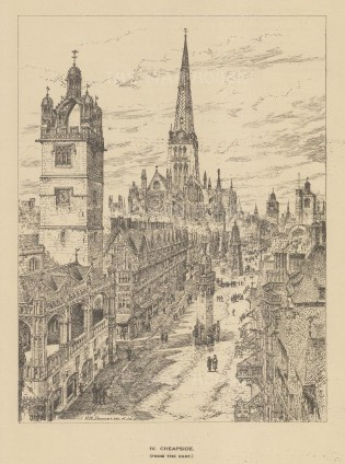 Cheapside. Bird's eye from the East. After the Architectural artist Henry William Brewer.